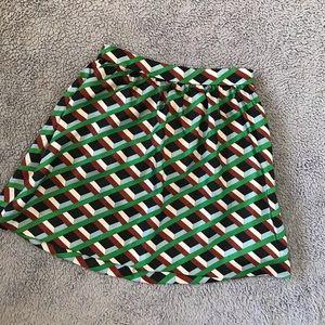 J. Crew Ratti Graphic Diamond Skirt Silk RARE